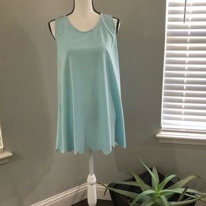 Tops - Baby blue scalloped hem tank